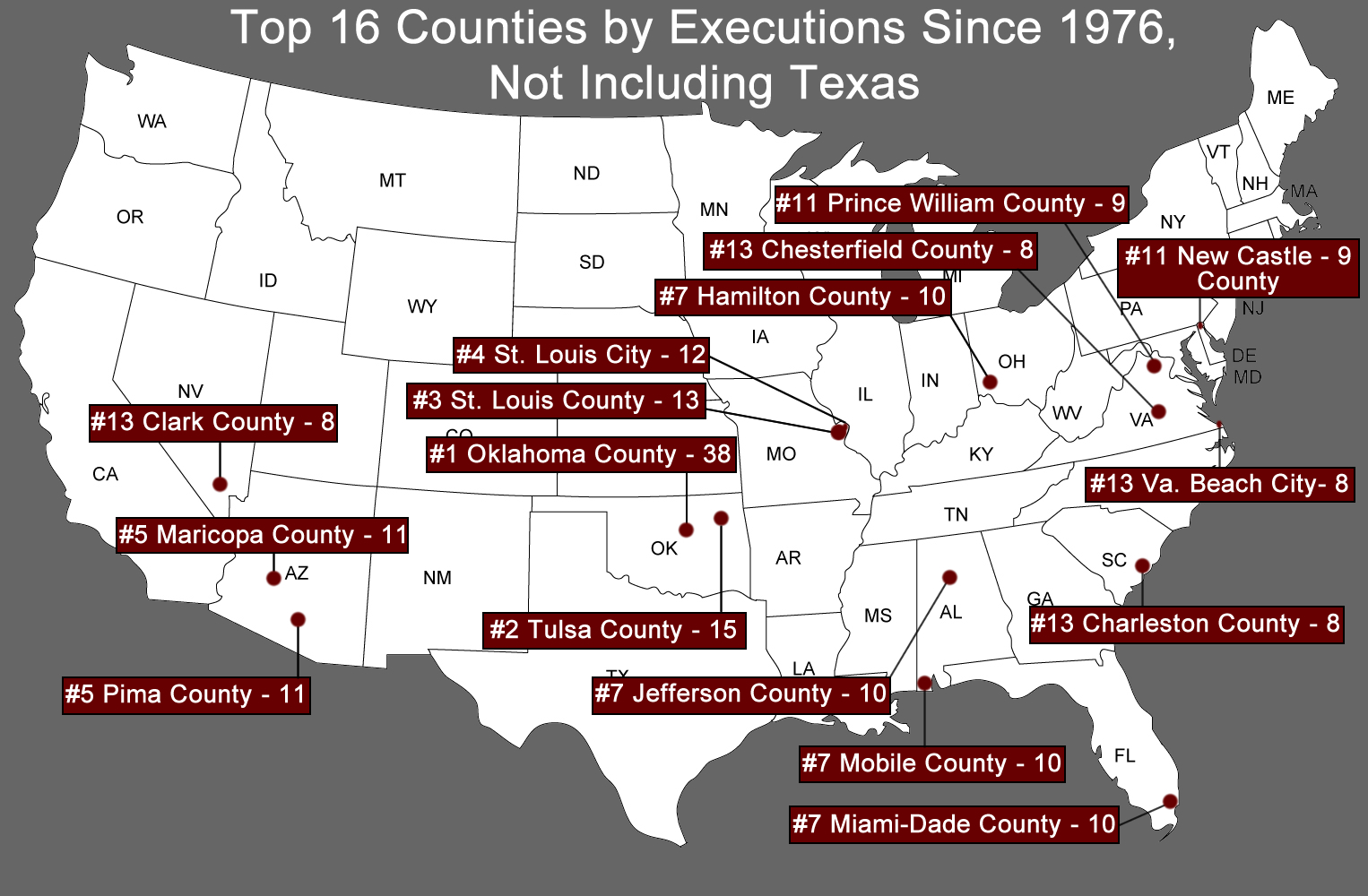of one percent of the total number of counties in the country and fewer than 1 of the total number of counties in states with the death penalty